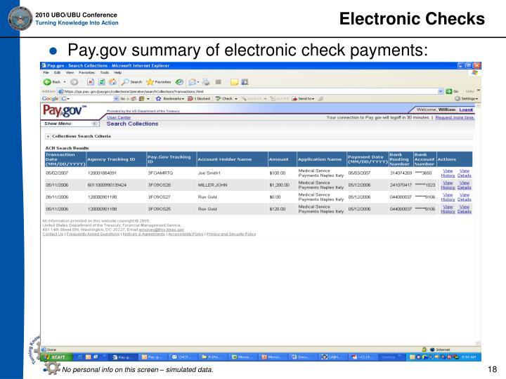 Electronic Checks