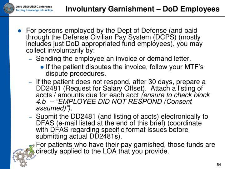 Involuntary Garnishment – DoD Employees