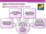 data communication consultation with users