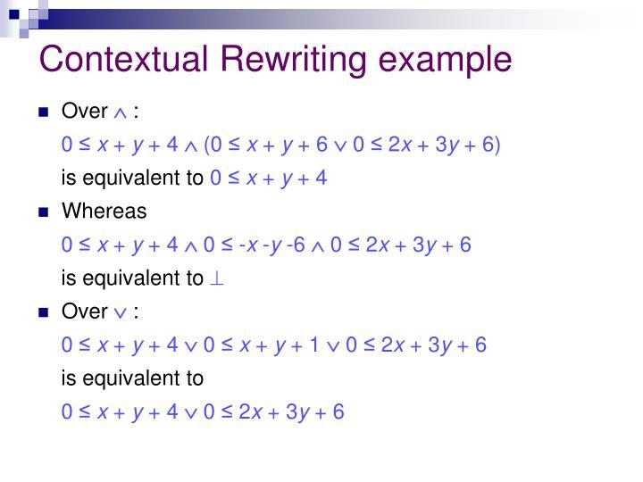 Contextual Rewriting example