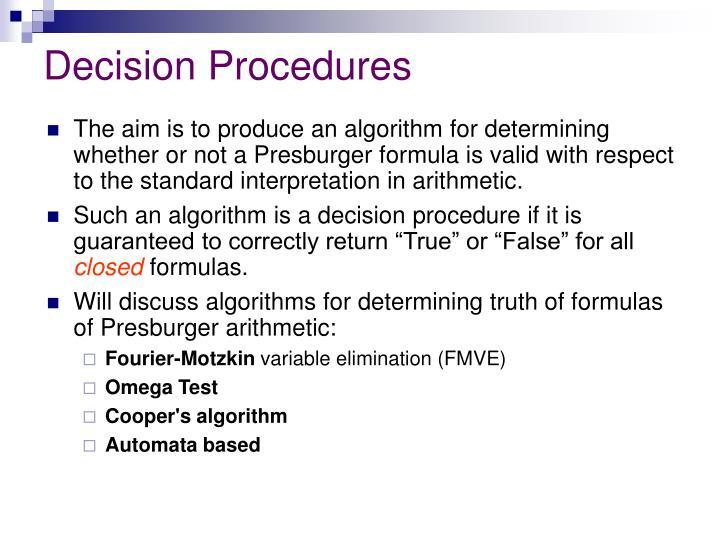 Decision procedures