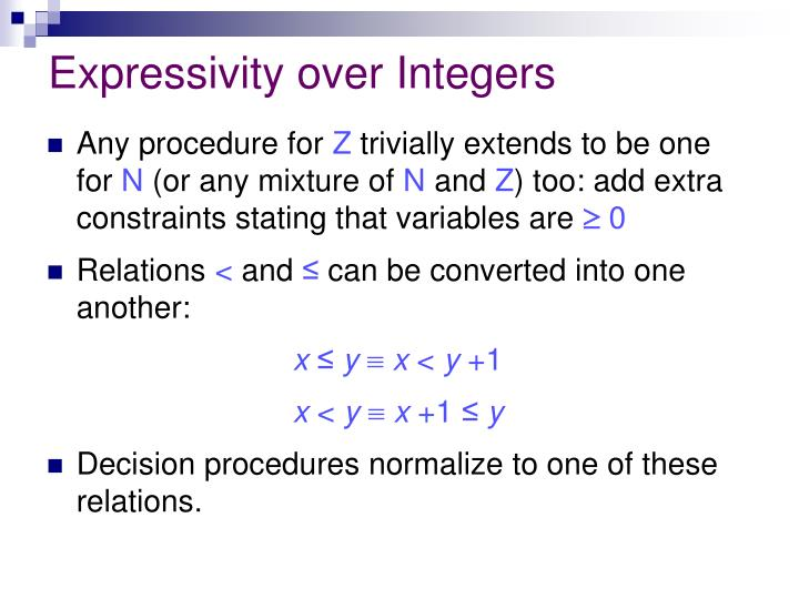 Expressivity over Integers