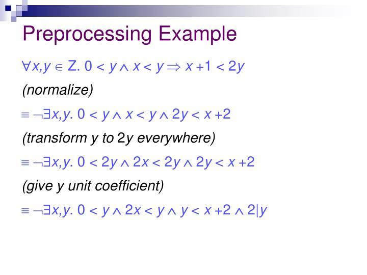 Preprocessing Example