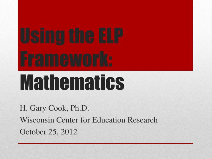 using the elp framework mathematics n.