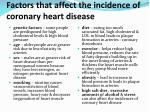 factors that affect the incidence of coronary heart disease