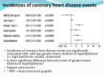 incidences of coronary heart disease events