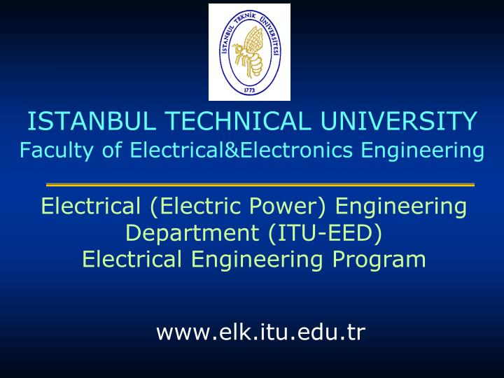istanbul technical university faculty of electrical electronics engineering n.