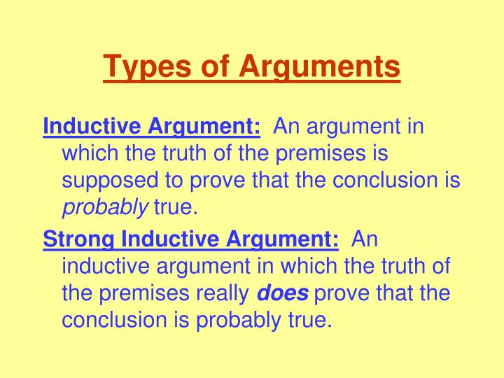 types of arguments n.