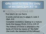 gifts given to keep the unity of the spirit eph 4 7 133
