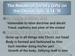 the results of christ s gifts on the church eph 4 14 16
