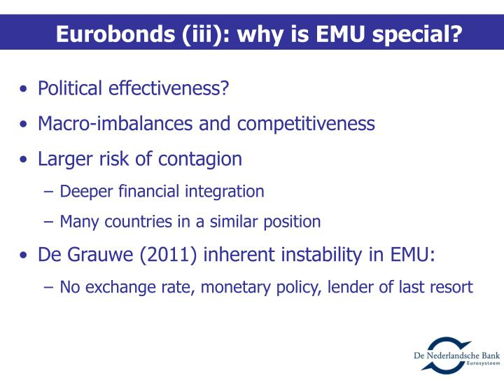 Eurobonds (iii): why is EMU special?