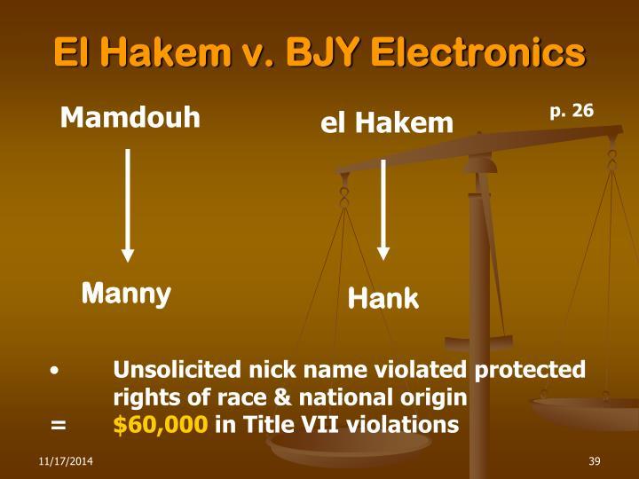 El Hakem v. BJY Electronics