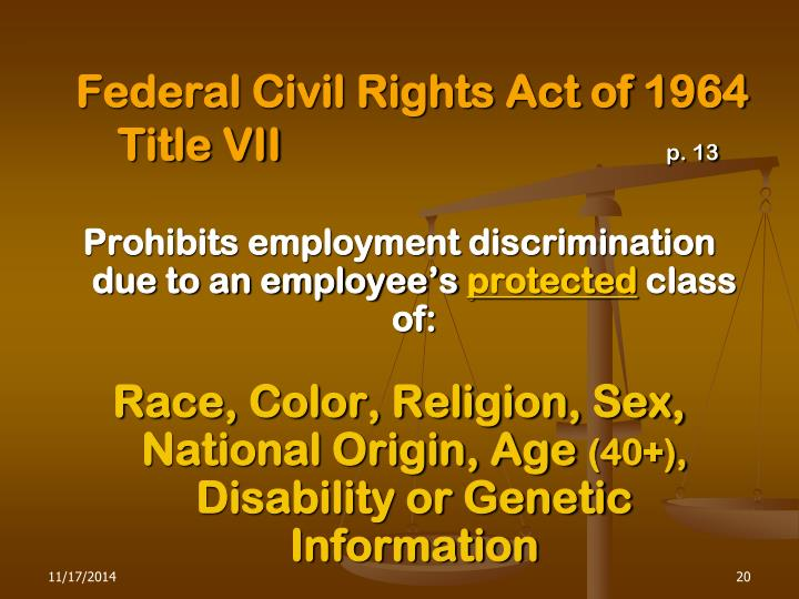 Federal Civil Rights Act of 1964