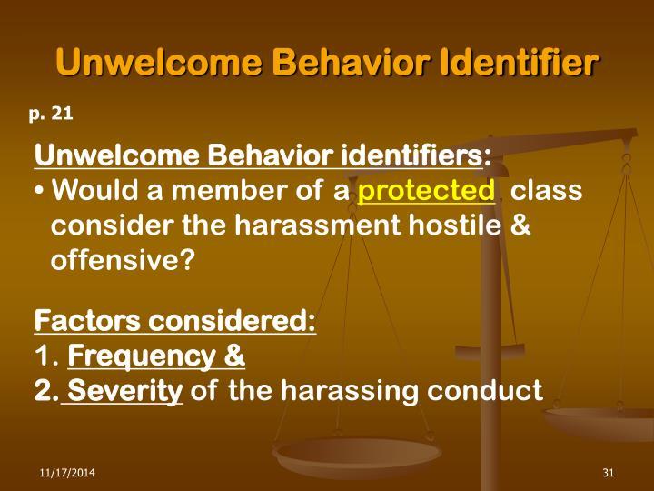 Unwelcome Behavior Identifier