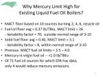 why mercury limit high for existing liquid fuel oil boilers