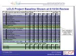lcls project baseline shown at 8 10 04 review