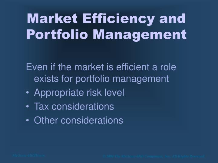 Market Efficiency and Portfolio Management
