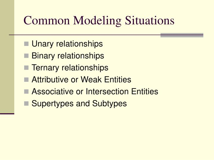 Common modeling situations
