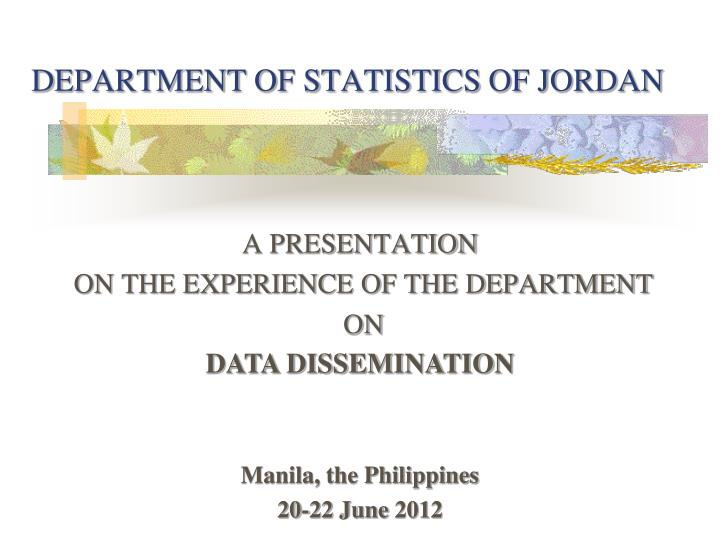 department of statistics of jordan n.