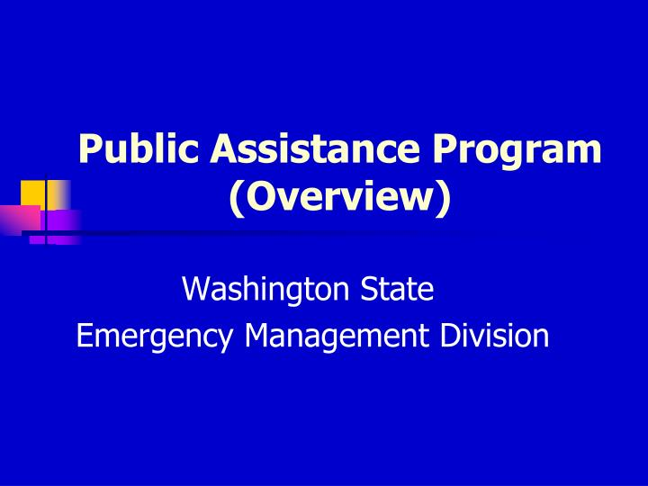 public assistance program overview n.