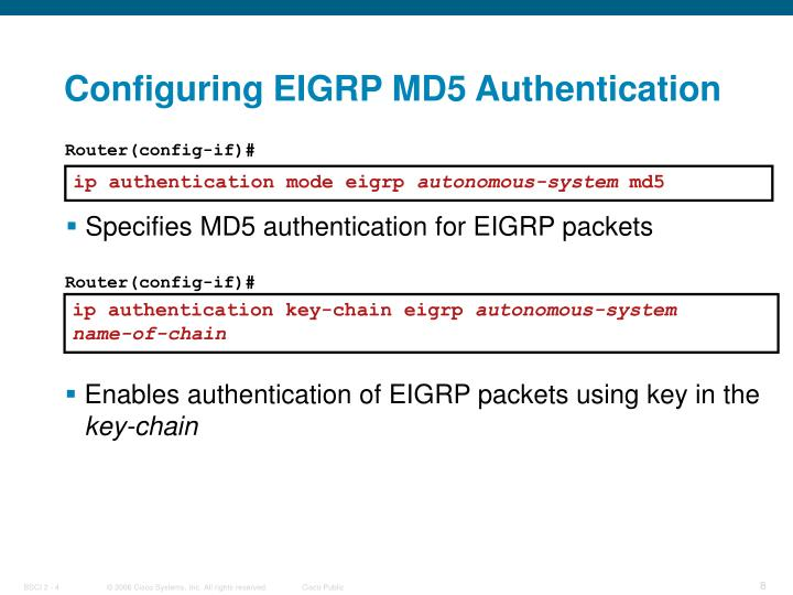 Configuring EIGRP MD5 Authentication