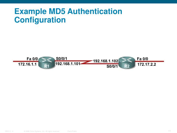 Example MD5 Authentication Configuration