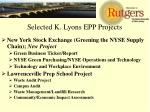 selected k lyons epp projects