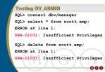 testing dv admin
