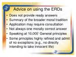 advice on using the erds