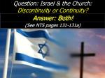 question israel the church discontinuity or continuity
