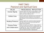 part two pastoral and spiritual care