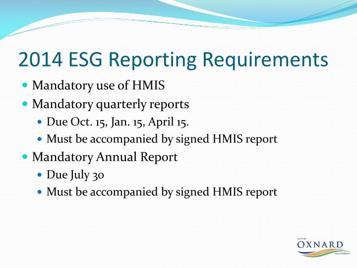 2014 ESG Reporting Requirements