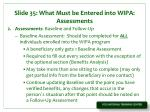 slide 35 what must be entered into wipa assessments