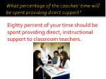what percentage of the coaches time will be spent providing direct support