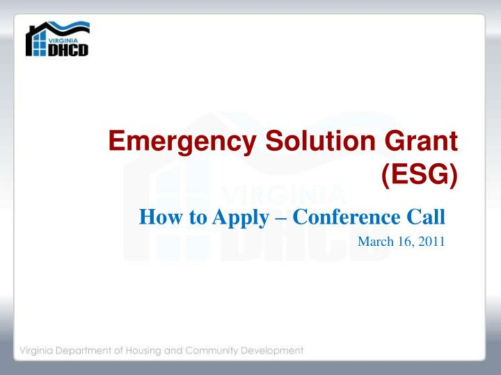 emergency solution grant esg n.