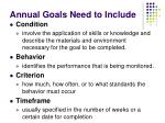 annual goals need to include2