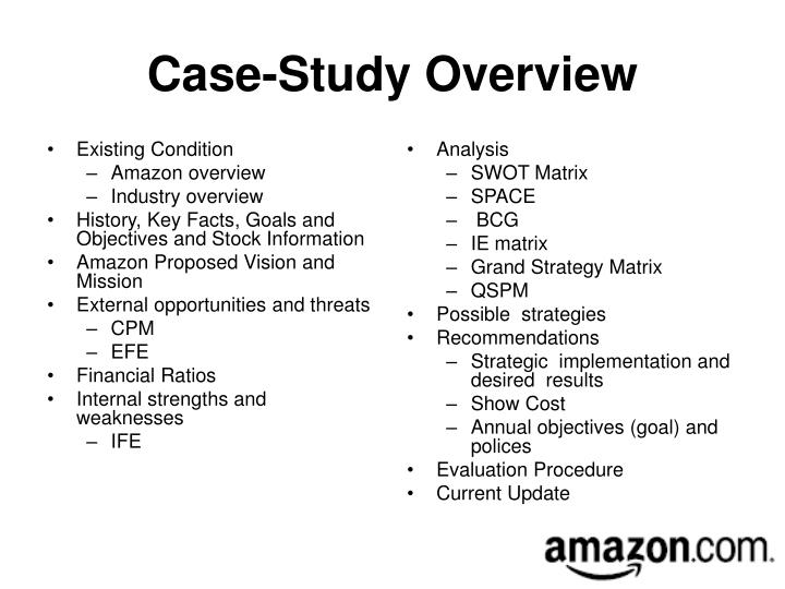 amazon com case study swot Amazon's case study which gives intelligence into amazon's business model and how it manages to outstand competition i found the analysis reports of swot & pestlecom very comprehensive and insightful i have used them in a lot of my personal research work.