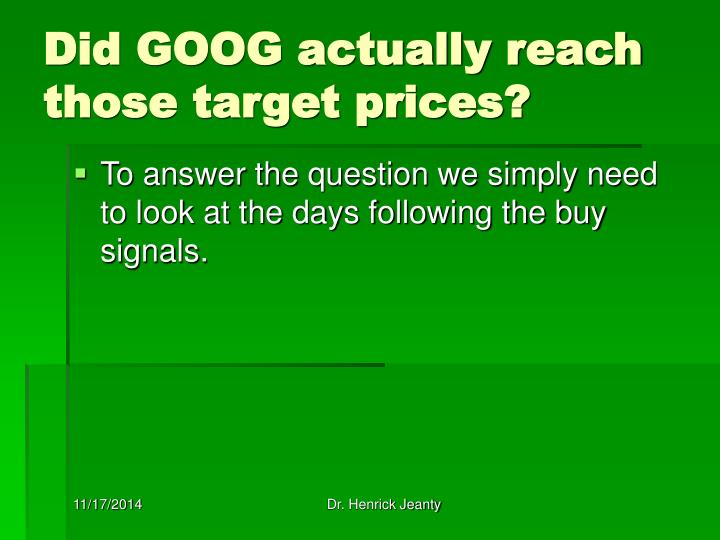 Did GOOG actually reach those target prices?