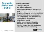 test wells sgf 1 and sgf 21