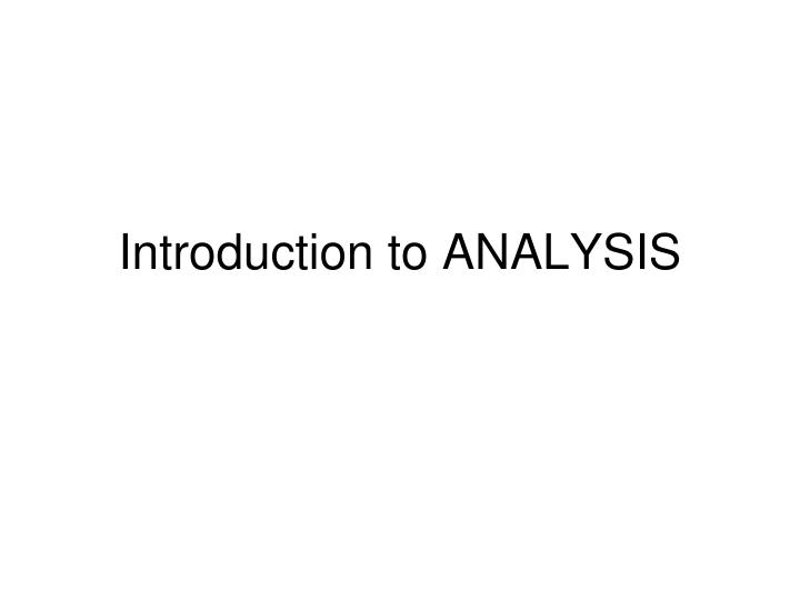 introduction to analysis n.
