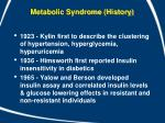 metabolic syndrome history