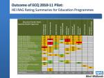 outcome of ecq 2010 11 pilot hei rag rating summaries for education programmes