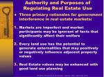 authority and purposes of regulating real estate use