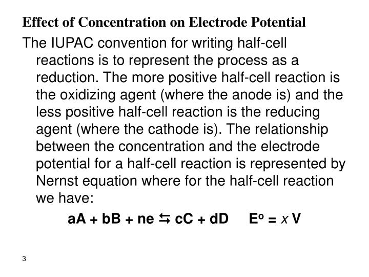 Effect of Concentration on Electrode Potential