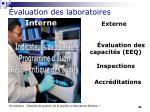 valuation des laboratoires