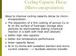 cycling capacity decay micro encapsulation