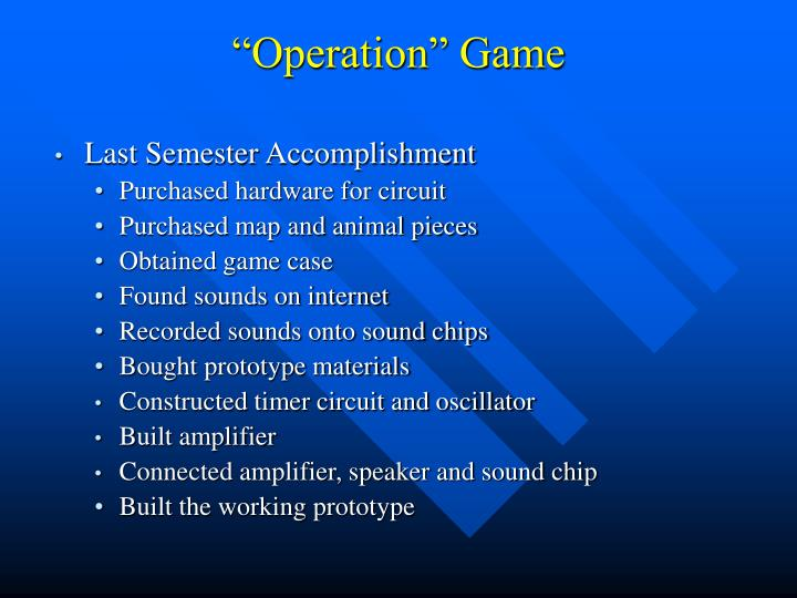 """Operation"" Game"