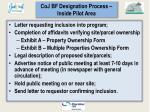 coj bf designation process inside pilot area