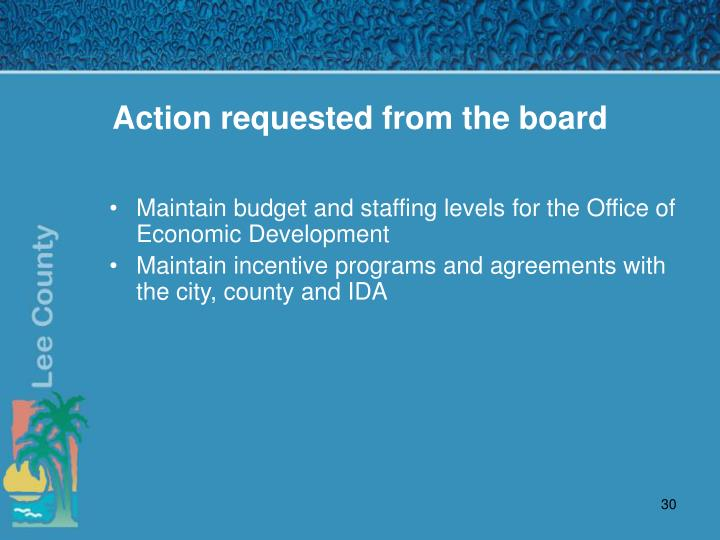 Action requested from the board