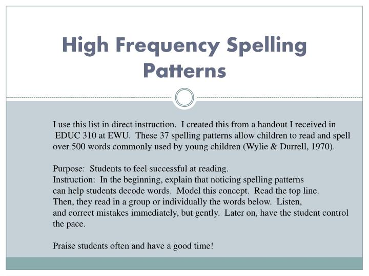 high frequency spelling patterns n.